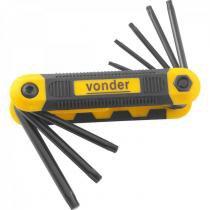 Jogo de chaves hexalobular T9 a T40 com 8 peças Vonder Preto -