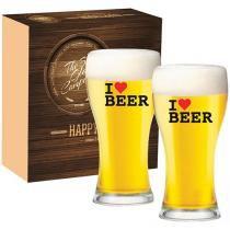 Jogo de Copos de Vidro 2 Peças 200ml - Ruvolo The Beer Glass I Love Beer Athenas
