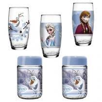 Jogo de Copos de Vidro 3 Peças Colorido 430ml - Nadir Disney Frozen com 2 Potes