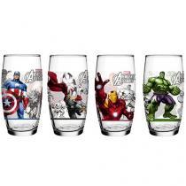 Jogo de Copos de Vidro 4 Peças Colorido 598ml - Nadir Marvel Avengers
