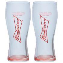 Jogo de Copos de Vidro para Cerveja 2 Peças - 400ml Budweiser Gravata