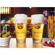 Jogo de Copos para Cerveja 2 Peças 470ml - FC Barcelona Shape Estádio