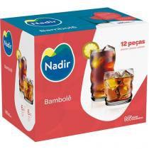Jogo de Copos Vidro 12 Peças - Nadir Bambolê Rocks e Long Drink