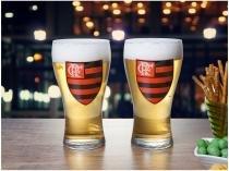 Jogo de Copos Vidro 2 Peças 470ml Globimport - Flamengo Shape Logo