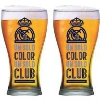 Jogo de Copos Vidro 2 Peças 470ml Globimport - Real Madrid Shape Club