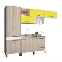 Jogo de cozinha compacta hibisco branco teka amarelo móveis albatroz -