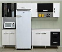 Jogo de Cozinha Compacta Manuela com 4 Peças - Poquema - Branco/Preto - Poquema