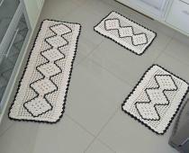 Jogo de Cozinha  Crochê Preto com 3 peças - Casa Sua Beleza