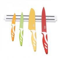 Jogo de Facas Aço Inox com Suporte Magnético 5 Peças Rojemac Colorido -