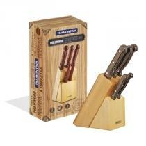 Jogo de facas churrasco inox 6 pçs polywood - Tramontna