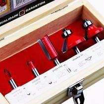 Jogo de Fresas para Tupia com 5 peças Vermelha para madeira Lee Tools 684859 -