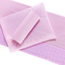 Jogo de lençol 3 peças para Berço Percal Antialérgico Barrado Xadrez Rosa - A. constantini enxoval de bebê