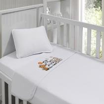 Jogo de lençol menina bordado em Bichos 90 cm x 1,70m - Tecebem
