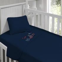Jogo de lençol menino Kinder Bordado Naval 90 cm x 1,70m - Tecebem