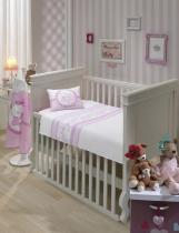 Jogo de Lençol P/ Berço - Happy Baby - Rosa - 100 Algodão - 3 Peças - Dohler -
