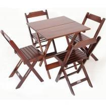 Jogo de Mesa 70 x 70 cm com 4 Cadeiras Dobráveis - Madeira - Madesil -