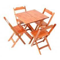 Jogo de Mesa 70 x 70 cm com 4 cadeiras dobráveis Natural - Madesil - Madesil