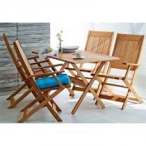 Jogo de Mesa com 4 Cadeiras Dobráveis Acqualung Jatobá - Mão  Formão - Mão  Formão