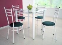 Jogo de Mesa com 4 Cadeiras Tulipa Branco - Marcheli - Tubo Branco / Assento Corino Preto - Marcheli