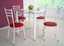 Jogo de Mesa com 4 Cadeiras Tulipa Branco - Marcheli - Tubo Branco / Assento Corino Vermelho - Marcheli