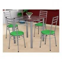 Jogo de Mesa com 4 Cadeiras Tulipa Prata - Marcheli - Prata/Verde -