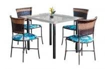Jogo De Mesa Gramado Com Tampo De Vidro E 4 Cadeiras Moveis Famais - Famais móveis