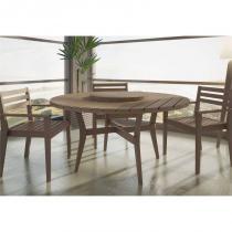 Jogo de Mesa Quarter com 3 Cadeiras em Madeira Maciça Nogueira - Mão  Formão - Mão  Formão