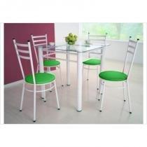 Jogo de Mesa Tulipa Branco com 4 Cadeiras com Assento Corino Verde - Marcheli -
