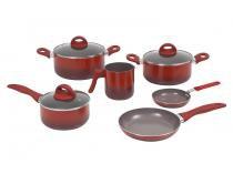 Jogo de Panelas Brinox de Alumínio Vermelha - 6 Peças Ceramic Life Smart Plus 4791/101
