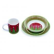 Jogo de porcelana (1 xícara, uma bacia e um prato) com tema de arvore de natal - Cod. Cromus: 1110027 - Cromus