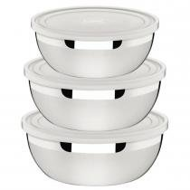Jogo de Potes Aço Inox Tampas Plásticas 3 Peças 64220/210 - Tramontina - Tramontina