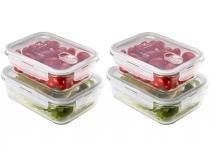 Jogo de Potes Vidro Hermético Electrolux com Tampa - Retangular 4 Peças