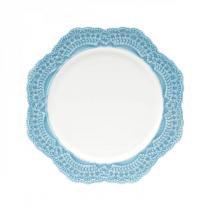 Jogo de Pratos de Sobremesa Porcelana 6 Peças 19cm Givemy Wolff Rojemac Branco/Azul Claro -