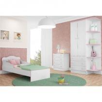 Jogo de Quarto Infantil Doce Sonho com Mini Cama Branco com Rosa - Qmovi -