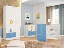 Jogo de Quarto Infantil Sonho Encantado com 3 Peças - Qmovi - Branco / Azul - Qmovi