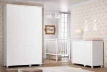 Jogo de Quarto para Bebê Completo Diogo Branco Brilho - Imaza Móveis -
