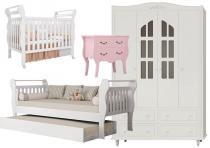 Jogo de Quarto para Bebê Completo Infinity Branco com Rosa - Imaza Móveis -