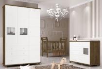 Jogo de Quarto para Bebê Completo Moana Branco com Gengibre - Imaza Móveis -