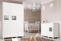 Jogo de Quarto para Bebê Completo Moana Branco - Imaza Móveis -
