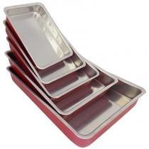 Jogo de tabuleiros alumínio polido craqueado cor vermelho - Alumínio alvorada