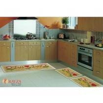 Jogo de Tapete para Cozinha Sisal Look SL22 Rayza Floral - Rayza Tapetes