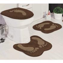 Jogo de Tapetes para Banheiro Antiderrapante Pegada Café 3 Peças - Guga