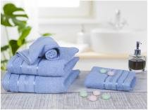 Jogo de Toalha de Banho Santista Royal - 100% Algodão Azul 4 Peças