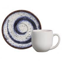Jogo de xícaras de café coup cosmic blue porto brasil cerâmica azul 6 peças -