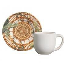 Jogo de xícaras de café mônaco vime porto brasil cerâmica 6 peças -