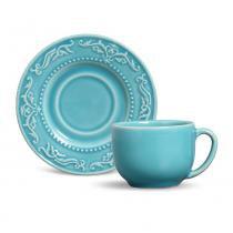 Jogo de xícaras de chá acanthus porto brasil cerâmica azul claro 160ml 6 peças -