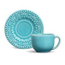 Jogo de xícaras de chá esparta porto brasil cerâmica azul claro 160ml 6 peças -
