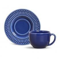 Jogo de xícaras de chá roma porto brasil cerâmica azul marinho  160ml 6 peças -