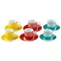 Jogo de Xícaras para Café Porcelana 12 Peças - Casambiente Colors