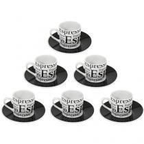 Jogo de Xícaras para Café Porcelana 12 Peças - Etilux Espresso JGXC-008